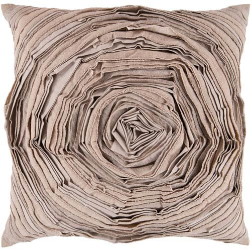 22-Inch Square Desert Sand, Caper Green and Putty Swirl Pillow Cover with Down Insert