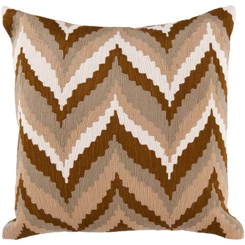18-Inch Square Golden Brown, Safari Tan, Caper Green, and Papyrus Striped Cotton Pillow Cover with Poly Insert