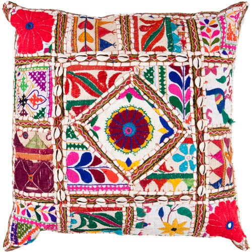 22-Inch Square Multi-Color Bohemian Cotton Pillow Cover with Down Insert