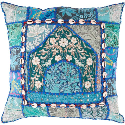 18-Inch Square Blue Multi-Color Bohemian Pillow Cover with Lace Accents and Down Insert