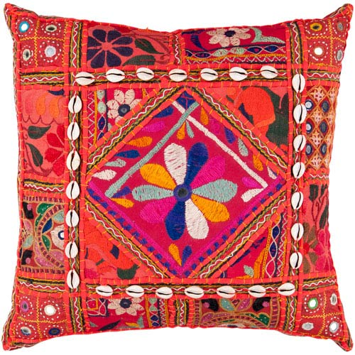 22-Inch Square Red Multi-Color Bohemian Cotton Pillow Cover with Down Insert
