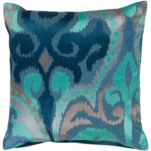 Blue Jay, Pussywillow Gray and Teal Polyester Filled 18 x 18  Pillow
