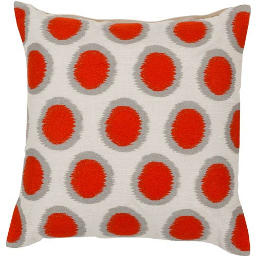 Papyrus, Orange-Red and Flint Gray Polyester Filled 18 x 18  Pillow
