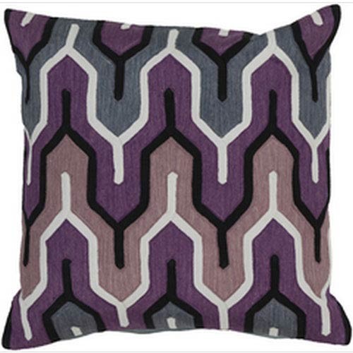 Surya Retro Modern Eggplant and Gray 18-Inch Pillow with Down Fill