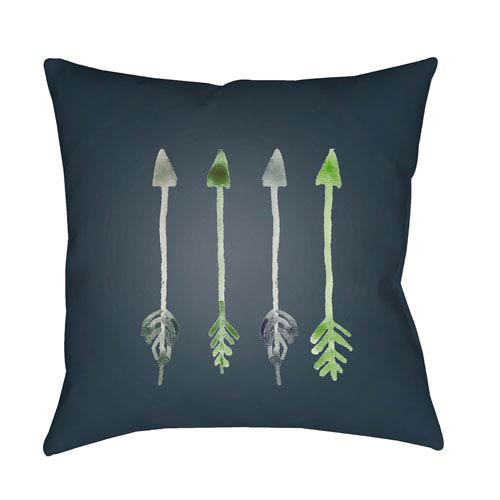 Surya Arrows Green and Gray 18 x 18-Inch Throw Pillow