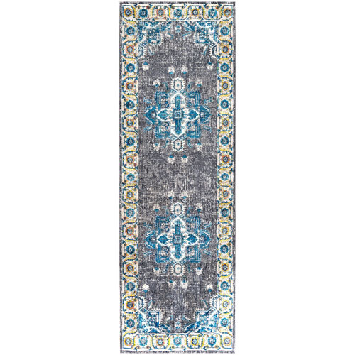 Surya Aura silk Gray and Blue Runner: 2 Ft. 7 In. x 7 Ft. 6 In. Rug