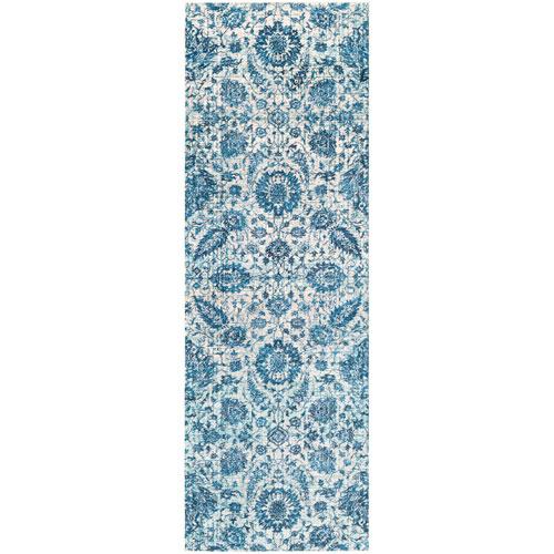 Surya Aura silk Blue Runner: 2 Ft. 7 In. x 7 Ft. 6 In. Rug