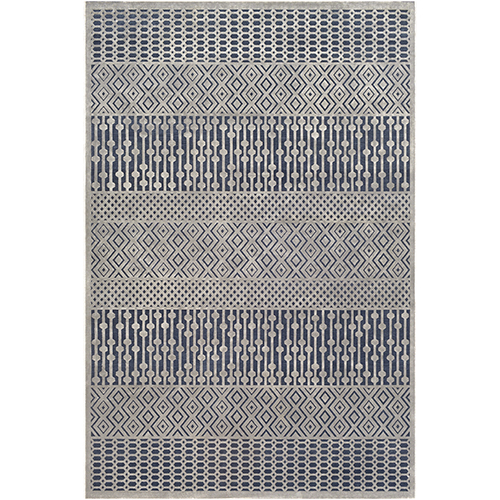 Aesop Dark Blue and Grey Rectangular: 6 Ft. 7 In. x 9 Ft. 6 In. Rug