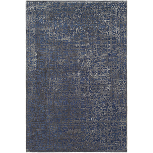 Aesop Dark Blue and Charcoal Rectangular: 7 Ft. 10 In. x 10 Ft. 4 In. Rug