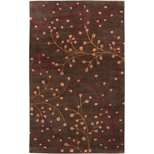 Surya Athena Chocolate Gold and Red Rectangular: 5 ft. x 8 ft. Rug
