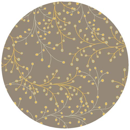 Surya Athena Gray Yellow and Cream Round: 8 ft. x 8 ft. Rug