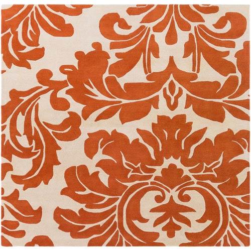Athena Burnt Orange and Cream Square: 6 Ft. x 6 Ft. Rug