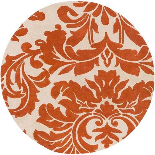Athena Burnt Orange and Cream Round: 9 Ft. 9 In. x 9 Ft. 9 In. Rug
