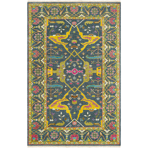 Antique Navy and Yellow Rectangular: 8 Ft. x 11 Ft. Rug