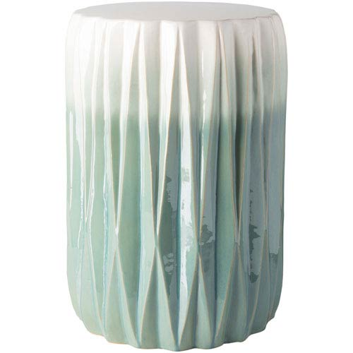 Aynor Mint and White Garden Stool