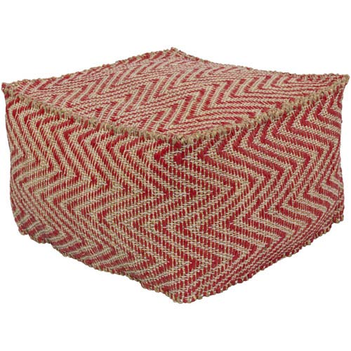 Bodega Bright Red and Khaki Pouf