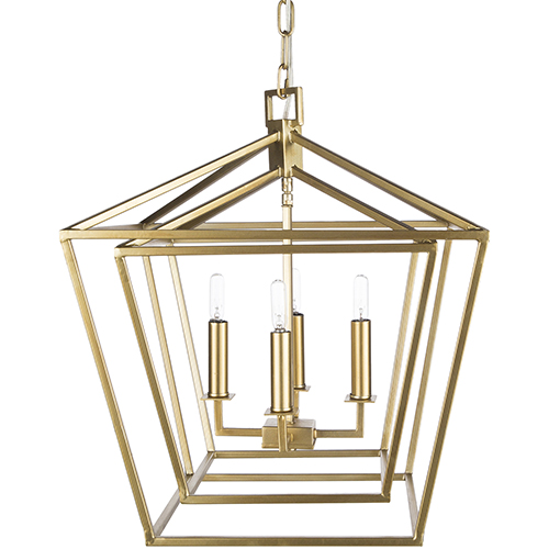 Bellair Gold 24-Inch Four-Light Lantern Pendant