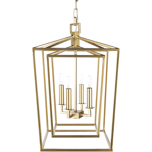 Bellair Gold 14-Inch Four-Light Lantern Pendant