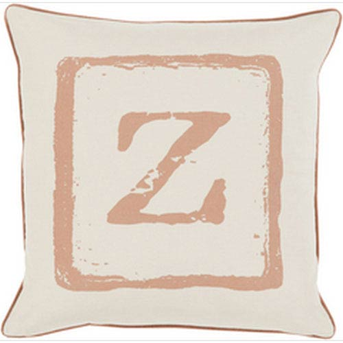 Mike Farrell Z Tan and Beige 18-Inch Pillow with Down Fill