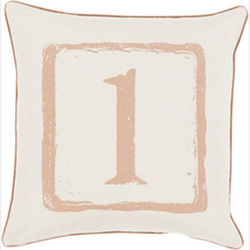 Mike Farrell The One Tan and Beige 18-Inch Pillow with Down Fill