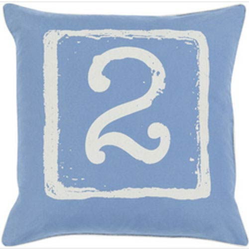 Mike Farrell Terrific Two Cobalt and Beige 18-Inch Pillow with Down Fill