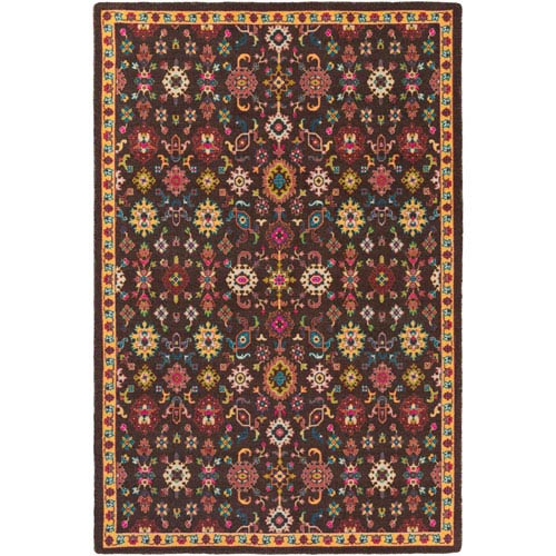 Surya Bukhara Black and Red Rectangular: 8 Ft. x 11 Ft. Rug