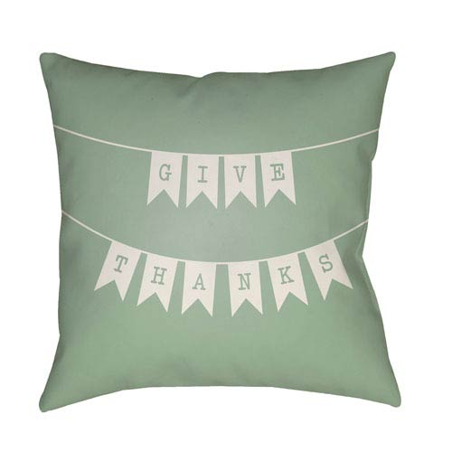 Surya Banner Green and White 20 x 20-Inch Throw Pillow