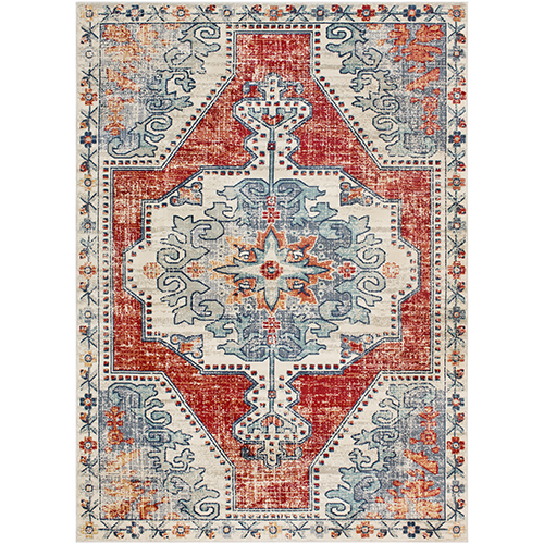 Bohemian Bright Red and Teal Rectangular: 5 Ft. 3 In. x 7 Ft. 6 In. Rug