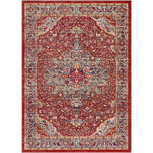 Bohemian Bright Red and Teal Rectangular: 3 Ft. 11 In. x 5 Ft. 7 In. Rug