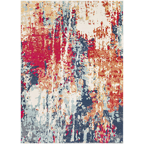 Bohemian Navy and Red Rectangular: 3 Ft. 11 In. x 5 Ft. 7 In. Rug
