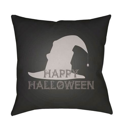 Black Boo 20-Inch Throw Pillow with Poly Fill