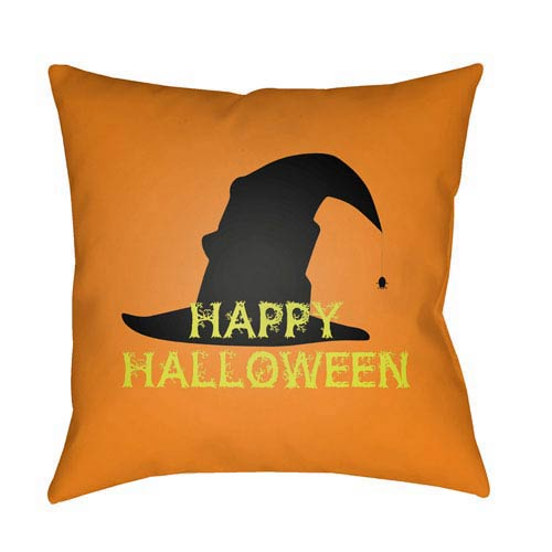Surya Orange Boo 20-Inch Throw Pillow with Poly Fill