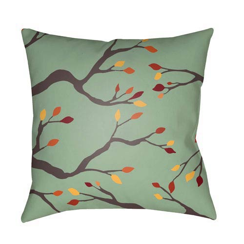 Green Branches 20-Inch Throw Pillow with Poly Fill