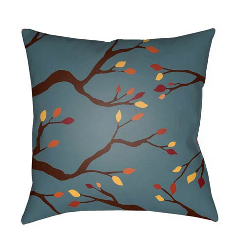Blue Branches 20-Inch Throw Pillow with Poly Fill