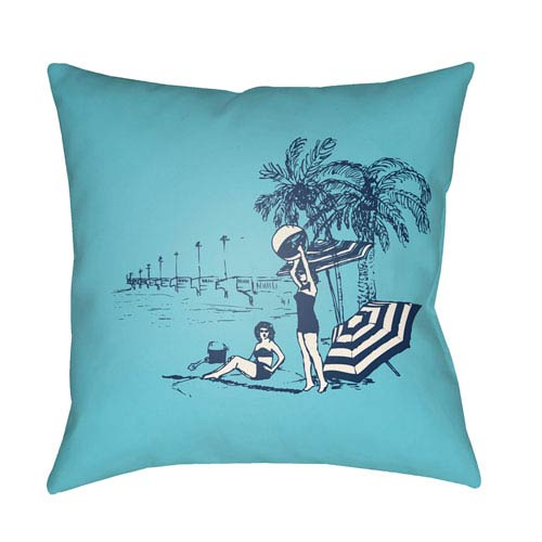 Surya Carolina Coastal Violet and Sky Blue 18 x 18-Inch Pillow