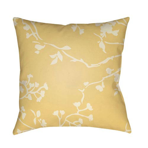 Chinoiserie Floral Cream and Bright Yellow 18 x 18-Inch Pillow