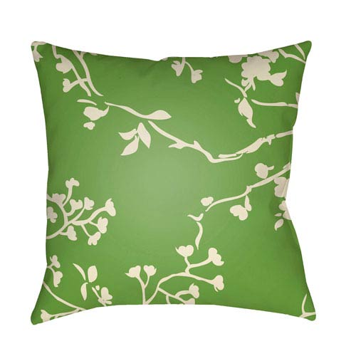 Chinoiserie Floral Cream and Grass Green 18 x 18-Inch Pillow