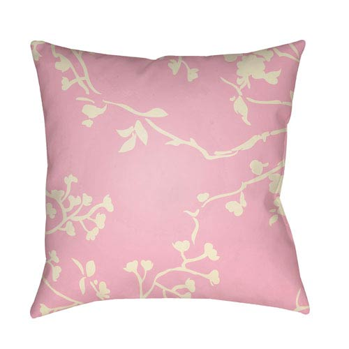 Surya Chinoiserie Floral Cream and Pale Pink 20 x 20-Inch Pillow