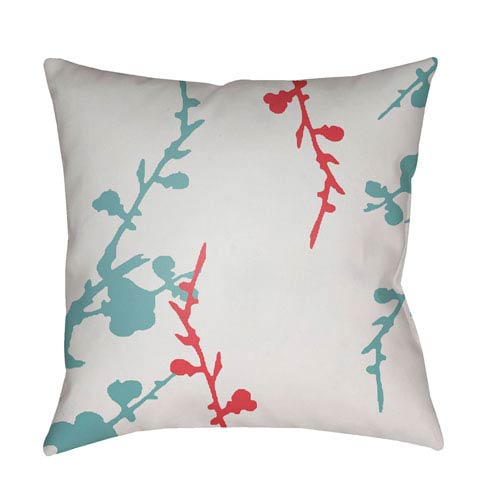 Chinoiserie Floral  Bright Pink and Aqua 18 x 18-Inch Pillow