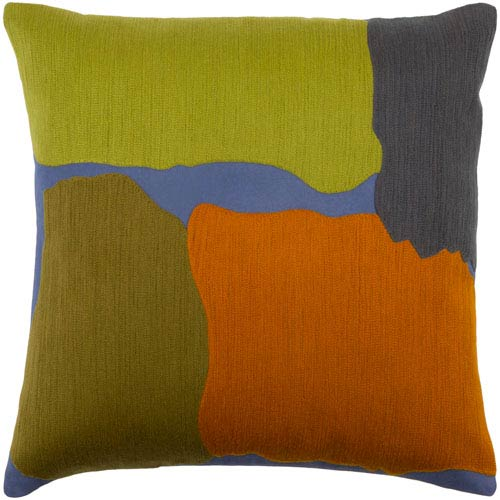 Charade Green and Orange 20-Inch Pillow Cover