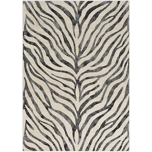 City Beige and Black Rectangular: 9 Ft. 3 In. x 12 Ft. 3 In. Rug