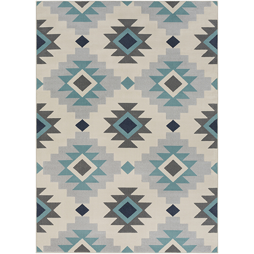 City Aqua and Beige Rectangular: 5 Ft. 3 In. x 7 Ft. 3 In. Rug
