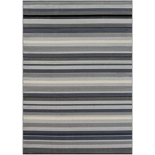 City Grey and Black Rectangular: 5 Ft. 3 In. x 7 Ft. 3 In. Rug