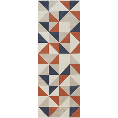 City Coral and Charcoal Runner: 2 Ft. 7 In. x 7 Ft. 3 In. Rug
