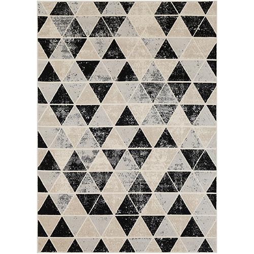 City Grey, Black and Beige Rectangular: 9 Ft. 3 In. x 12 Ft. 3 In. Rug