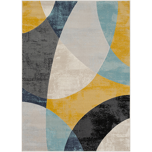 City Aqua, Grey and Mustard Rectangular: 5 Ft. 3 In. x 7 Ft. 3 In. Rug