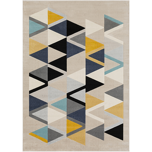 City Aqua, Mustard and Grey Rug