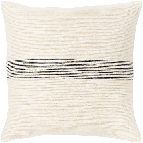 Carine Cream and Black 18 In. x 18 In. Pillow with Polyester Insert