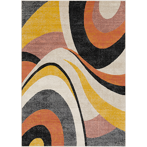 City Mustard, Orange and Taupe Rectangular: 3 Ft. 11 In. x 5 Ft. 7 In. Rug