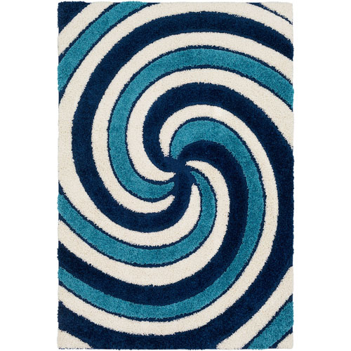 Surya Cut and Loop Shag Blue Rectangle: 2 Ft. x 3 Ft. Rug